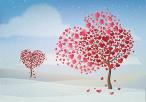 Hand-drawn trees with leaves of hearts